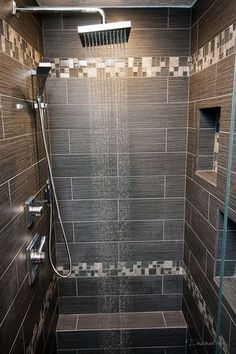 Great walk in shower with luxury shower system, shower niche and great tiles ~ http://walkinshowers.org/best-shower-systems-buying-guide.html