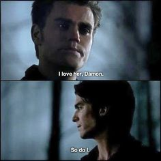 Stefan loves Elena. So does Damon.