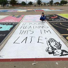 High School Seniors paint their own parking spaces. High School Graduation, High School Seniors, Graduation Ideas, Senior Pictures, Funny Pictures, Funny Pix, Hilarious, Funny Stuff, Parking Spot Painting