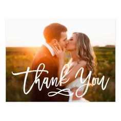 "Wedding Photos Chic Hand Lettered Wedding Thank You Postcard - Stylish wedding thank you post card template featuring a photo on the front and back, ""Thank You"" in a modern white script font, and custom text thank you message. Wedding Thank You Postcards, Wedding Postcard, Wedding Cards, Wedding Invitations, Wedding Gifts, Wedding Stationery, Invites, Wedding Stamps, Welcome Photos"