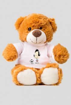 Footballer Model: Plush teddy bear Brown color  Description: - Teddy bear - about 25 cm in size - T-shirt 100% cotton overprint on a shirt size up to 5 cm - the maximum area of printing on the 4 cm x 4 cm shirt