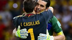 FORTALEZA, BRAZIL - JUNE 27: Gianluigi Buffon of Italy embraces Iker Casillas of Spain (L) at the end of a penalty shootout during the FIFA Confederations Cup Brazil 2013 Semi Final match between Spain and Italy at Castelao on June 27, 2013 in Fortaleza, Brazil. (Photo by Buda Mendes - FIFA/FIFA via Getty Images)