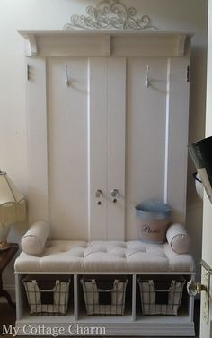 My Cottage Charm: How to build a coat rack bench from old doors..full tutorial! Mudroom bench.