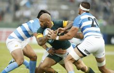 Lionel Mapoe is tackled by the Pumas. Argentina comfortably opened up a 13-3 lead, and left the Boks chasing the game. As illustrated by SARugbymag.co.za's Opta-powered stats, the Pumas made 192m to 61, 44 carries to 23, five clean breaks to none and enjoyed the better of both the possession (57%) and territory (58%) stats.