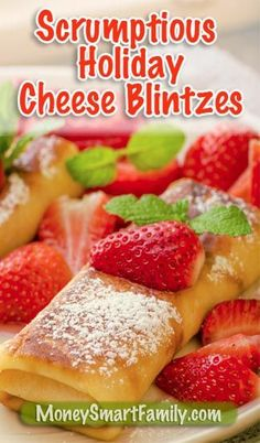 Scrumptious Cheese Blintzes - A family tradition! These delicious treats disappear as quickly as we make them - so we make a quadruple batch.