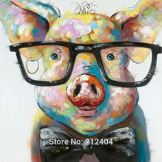 pig with glasses painting - Google Search