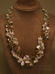 Statement Lei-Style Pearl Necklace Keshi Pearl by dlpCraftsman