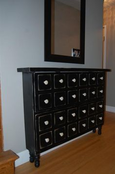 DIY Apothecary Shoe Cabinet -- This version was created by a reader from Anna White's (free) building plans.