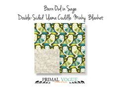 Sage Barn Owl Double-Sided Llama Faux Fur Minky Blanket by Primal Vogue™ - 36x36 40x60 - Cream, Olive, Teal and Lime - Very Soft Faux Minky