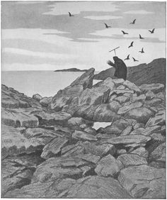 Theodor Kittelsen - Illustration of the Black Death (Pesta drar), 1900 Most Popular Artists, Great Artists, Theodore Kittelsen, Black Death, Art Database, Design Graphique, Woodland Creatures, Nature Paintings, Klimt