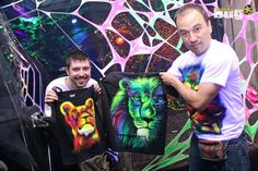 Name: Psylocybe; Category: Clothing; Products: T-shirts, Backdrops, Paintings; Page: www.facebook.com/psylocybeart On picture: FLUO / NEON / UV / Fluorescent LION / LIONS