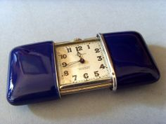 VINTAGE SILVER MOVADO PURSE WATCH, WITH BLUE ENAMELLED CASE, c 1930s.