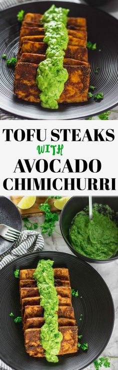 This delicious Baked Tofu Steaks With Chimichurri Sauce is so flavorful. Tofu marinated and baked then topped with a mouthwatering avocado chimichurri sauce. Veggie Recipes, Appetizer Recipes, Whole Food Recipes, Vegetarian Recipes, Cooking Recipes, Healthy Recipes, Jalapeno Recipes, Recipes With Tofu, Health Appetizers