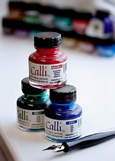 Prater Calligraphy uses Calli, Windsor Newton and Higgins Inks