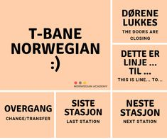Learn T-bane Norwegian - Norwegian Academy Norwegian Words, Visit Oslo, Proverbs Quotes, The Doors, Mind The Gap, Norway Travel, Idioms, Bane, Languages