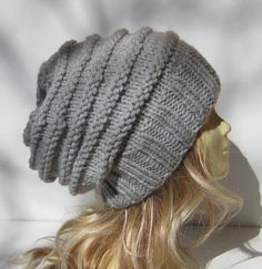 Hand Knit Slouchy Hat . Baggy Knit Hat . Baggy by selmahandcraft