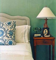 Annsley Interiors - Green and blue bedroom. Love the striped headboard, adding masculinity to the design (sometimes I find master bedrooms too feminine, usually there's a boy there too you know). Also, doi, love the name of this blog…