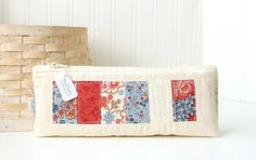 Red White and Blue Pencil Case Cute Pencil Case Floral Zipper Pouch Scrappy Pencil Pouch