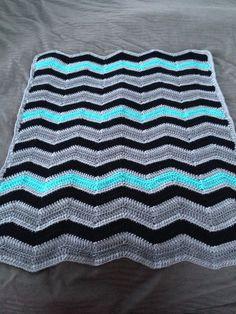 Chevron Crochet Baby Boy Blanket Cruz by ChevronChicBoutique, $45.00