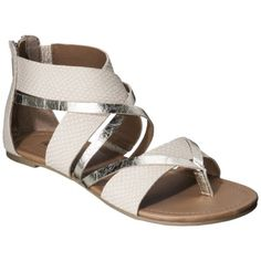Women's Mossimo Pari Ankle Strap Flat Sandal - Cream/Gold from Target.  Love the different textures.  Would look great with maxis!
