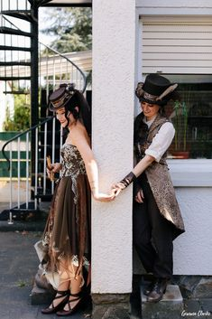 Unique same sex wedding in the German countryside with 'First Non-Look photos', the brides who made all the decorations including their own outfits and steampunk cake! Blog Planning, Vintage Diy, Wedding Blog, Real Weddings, Steampunk, Germany, Vintage Fashion, The Incredibles, Bride