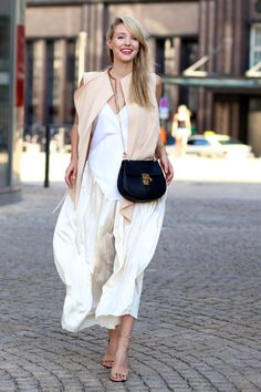 nude blazer with culottes