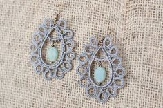 Kachin Earrings Large Tatted Paisleys in Grey with by hilltribers, $28.00