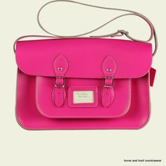 Traditional Handmade British Vintage Leather Satchel - Cabaret Pink Our 15-inch satchel is similar to the 14-inch in the sense that it is designed to