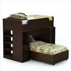 South Shore Logik Twin over Twin Loft Bunk Bed in Chocolate Finish - 335908X-KIT2