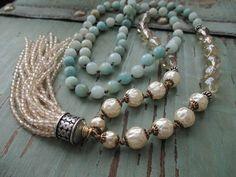 Pearl tassel necklace - Innocence - cream off white blue semi precious stone layering necklace boho by slashKnots