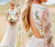 <img> 20 Wedding Dresses with Colorful Detail – Constance Zahn Western Wedding Dresses, Princess Wedding Dresses, Colored Wedding Dresses, Dream Wedding Dresses, Bridal Dresses, Wedding Gowns, Making A Wedding Dress, Ball Gown Dresses, Embroidery Dress