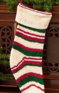 Christmas Stocking Free Knitting Pattern from Red Heart Yarns