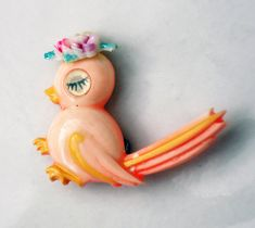 Retro Painted Celluloid Bird Brooch with by ReadyMadeJewelry.