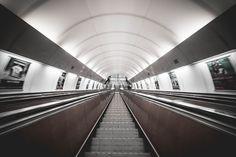 Symmetric Public Transport Network Underground Escalator Free Image Download
