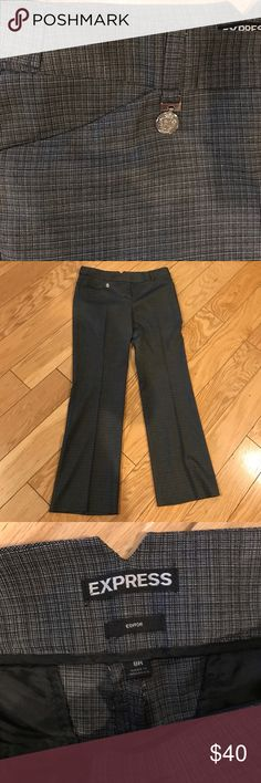 Gray plaid design trousers Express Editor Worn in great condition only dry cleaned look at close up to see pattern they are a dark gray with black and white editor pants regular length size 8R Express Pants Trousers