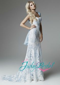 JW13205 romantic blue lace wedding dress with cap sleeves Sigh I wish