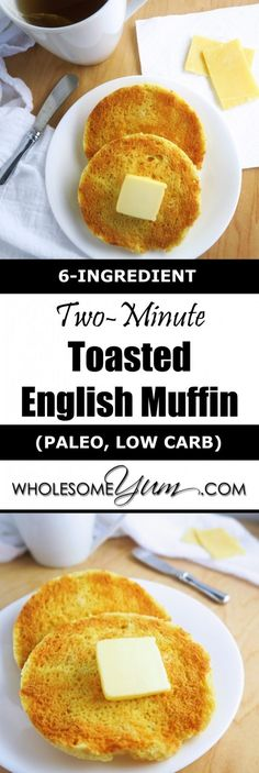 2-Minute Toasted English Muffin (Paleo, Low Carb) - This paleo, low carb microwave toasted English muffin is soft and buttery inside, crusty on the outside, and takes just a few minutes to prepare.