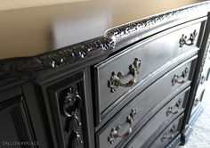 "dalloway place black dresser refinished SPRAY FINISHED IN SHERWIN WILLIAMS PAINT ""TRICORN BLACK"""