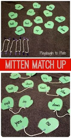 Winter Mittens Match-Up - what a great way to practice matching (math problems, opposites, etc). Great for fine motor skills too. Pictures for preschool Winter Activities, Educational Activities, Classroom Activities, Preschool Activities, Opposites Preschool, Learning Tips, Kids Learning, Winter Fun, Speech Therapy