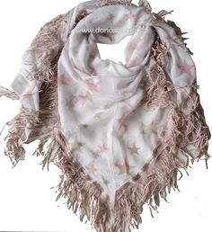 Sjaal sterren wit,  beige en roze franjes