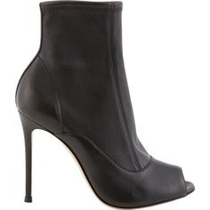 Gianvito Rossi Peep-Toe Ankle Boots ($459) ❤ liked on Polyvore featuring shoes, boots, ankle booties, black, black leather boots, black stilettos, black leather bootie, black bootie en black ankle booties