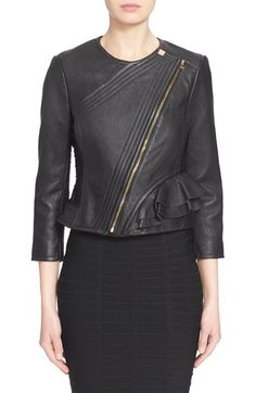 Free shipping and returns on Herve Leger 'Mila' Ruffle Detail Lambskin Leather Jacket at Nordstrom.com. Tiered ruffles flounce from the waist of this supple leather jacket, countering its toughened-up moto attitude with softly feminine shape. Angled channel stitching highlights the sleek asymmetrical styling, while signature bandage construction along the sides and sleeves perfects the fit and eases movement.