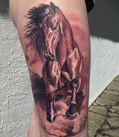 D horse thigh tattoo