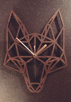 Geometric Fox's Head Clock found on etsy #ad #Etsy #fox