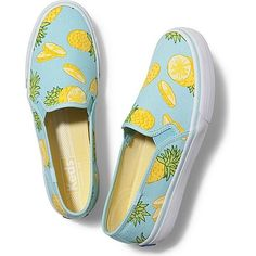 Keds Double Decker Picnic featuring polyvore, fashion, shoes, sneakers, flats, pineapple fruit print, keds shoes, flat slip on shoes, keds flats, keds sneakers and keds footwear