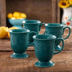 The Pioneer Woman Cowgirl Lace Mug Set Set of 4 - Walmart.com & The Pioneer Woman Adeline 13 oz Emboss Glass Bowl Set of 4 ...