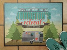18x 24 Personalized camper, RV themed welcome mats for the campers who love glamping up their home away from home. Also makes a great gift for your wanderlust friends whose favorite adventures take them on the road! Choose between a Travel Trailer, Fifth Wheel, Motor Home or Airstream Trailer. You can change names and any other text on this design. DETAILS: - 18x 24 polyester looped mat with a sturdy no-slip rubber backing  - Indoor/outdoor, mold and mildew resistant.  - Door mats are made…