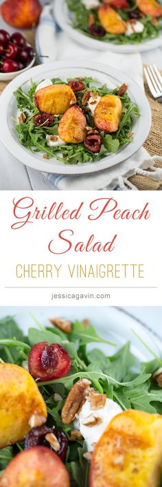 Delicious summer salad with grilled peaches and cherry vinaigrette dressing | jessicagavin.com #healthyrecipe
