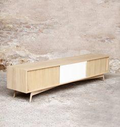 meuble hifi tv grand bas vintage bois sur mesure made in france - Meuble Tv Made In Design