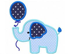 Elephant with balloon applique -4x4 5x7 6x10- Machine Embroidery Applique Design